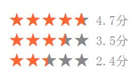 css+字体实现五角星(半颗星、1/3颗星)评分效果